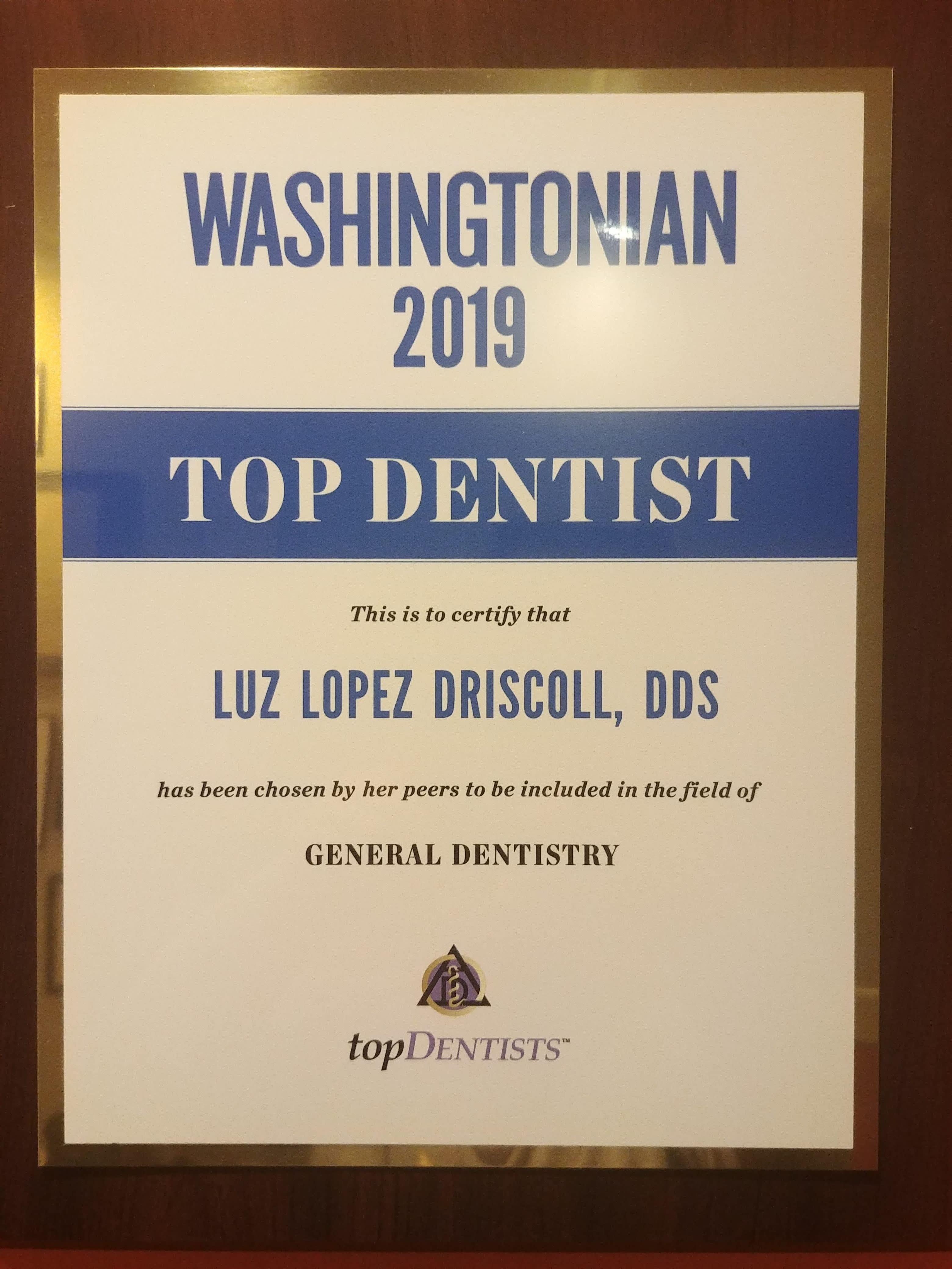 2017 Washingtonian Top Dentist Award